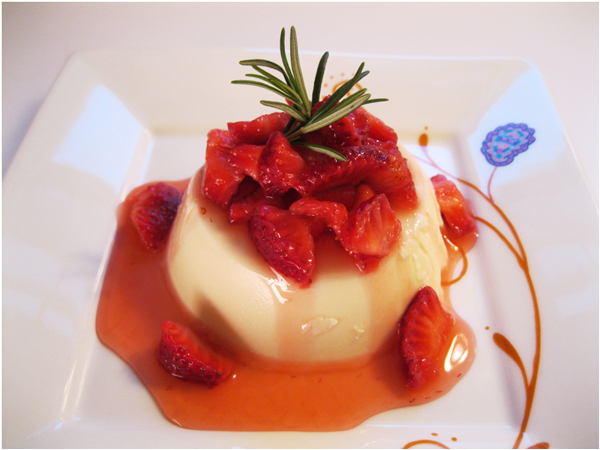 Rosemary-Infused Panna Cotta with Strawberries