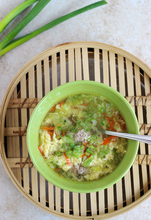 Egg Drop Meatball Soup with Green Onions
